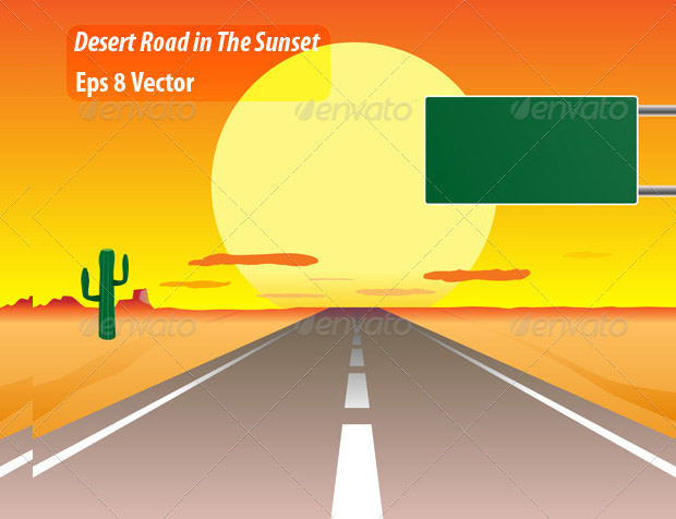 Desert Road Sunset Vector Graphics Download
