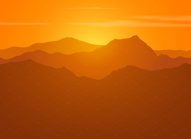 sunset vector mountain range download