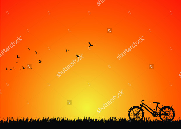 Silhouette Bicycle Sunset vector Download