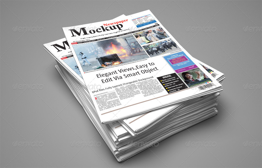 Newspaper Pile Mockup