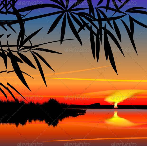 Bright Colorful Sunset In Vector Style With Silhoutte Trees Download