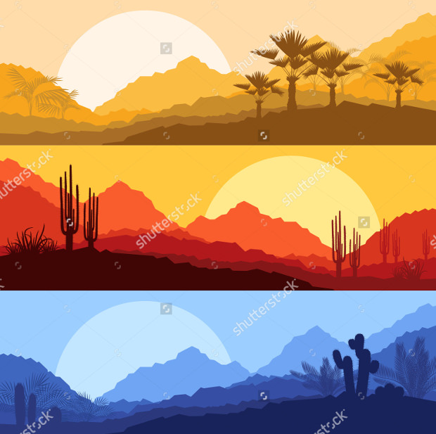 Decent Sunset Vector style Set Download