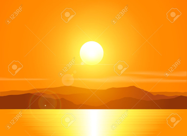 seashore over mountain range vector sunset download