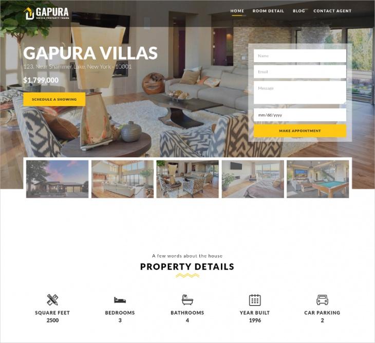 gapura single property wordpress theme