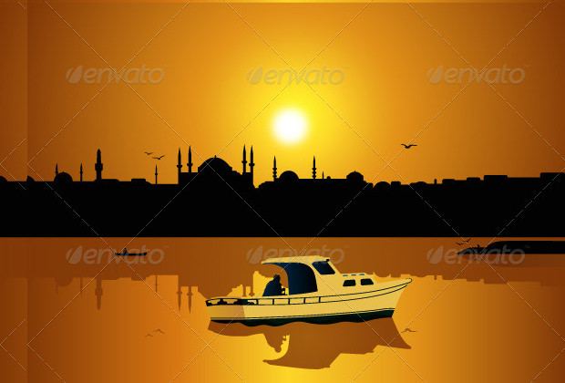 Silhouette Istanbul With Vector SunSet Download