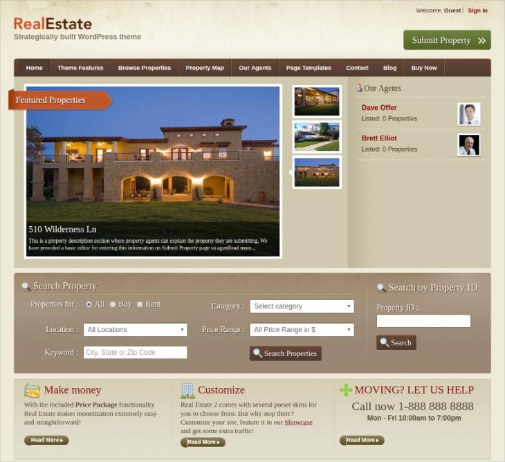 wordpress real estate portal theme