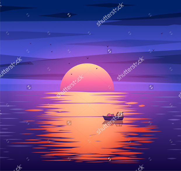 Sailing Boat with Vector Sunset Download