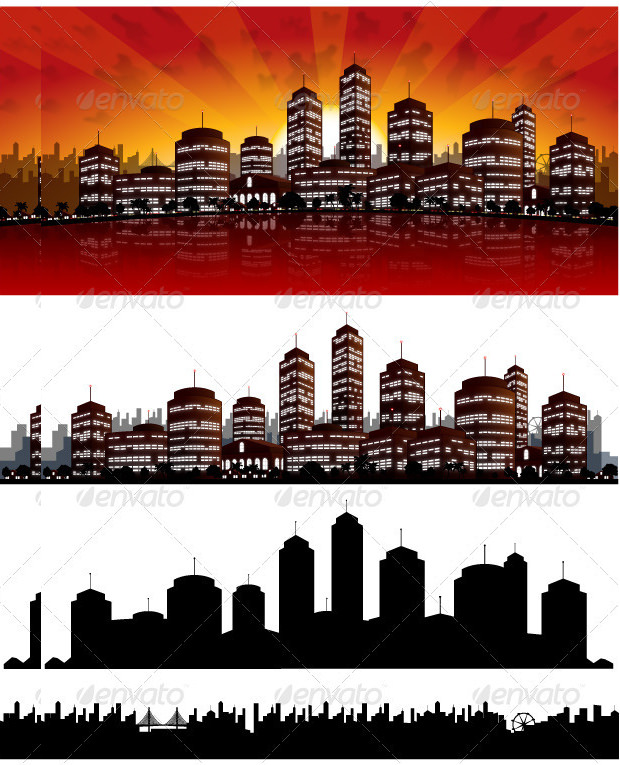 City Sunset Vector Background Download
