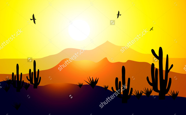 desert vector sunset download