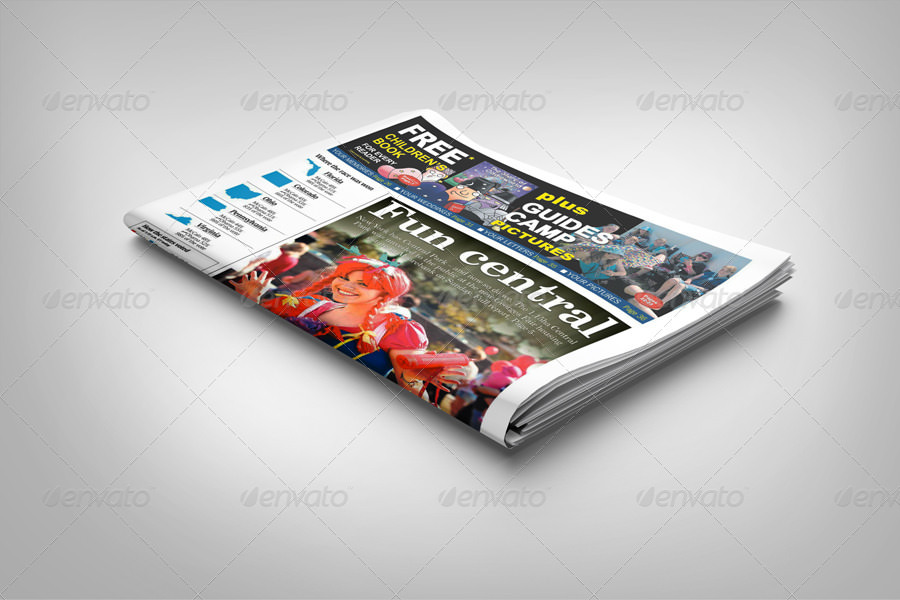Single Front Newspaper Mockup