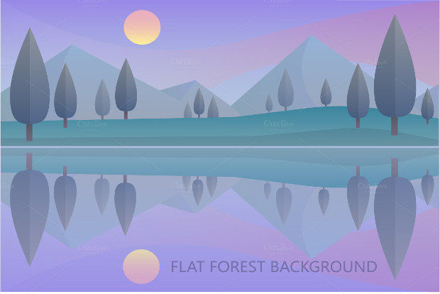 lakeshore Sunset Vector Style Download