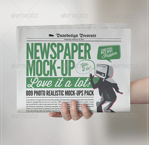 Newspaper in Hand Mockup