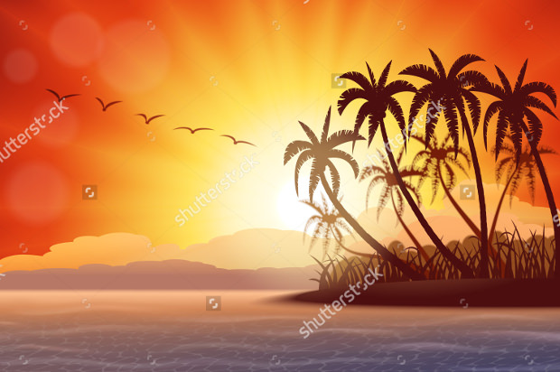 vector sunset with tropical island download