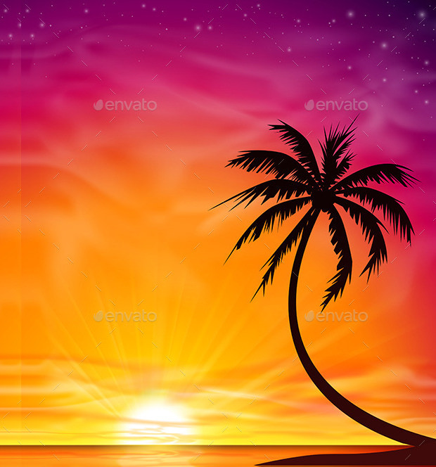 Colorful Sunset with Palm Tree Download
