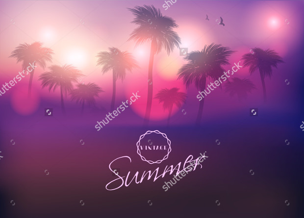 palm tree sunset with paradise island vector style