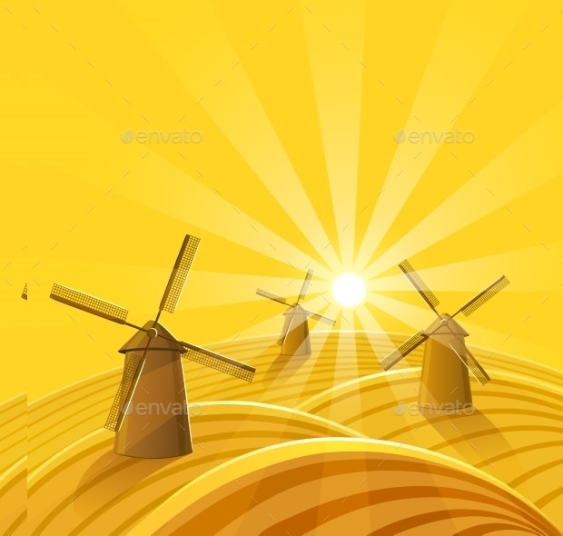 Windmills Sunset Vector Background Download
