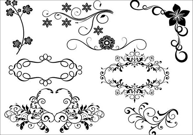 8 decorative brushes