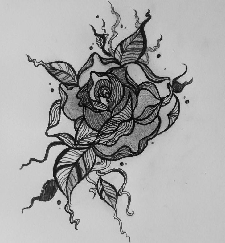 Single Rose Pencil Sketch