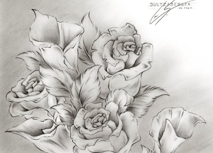 rose bouquett flower drawing