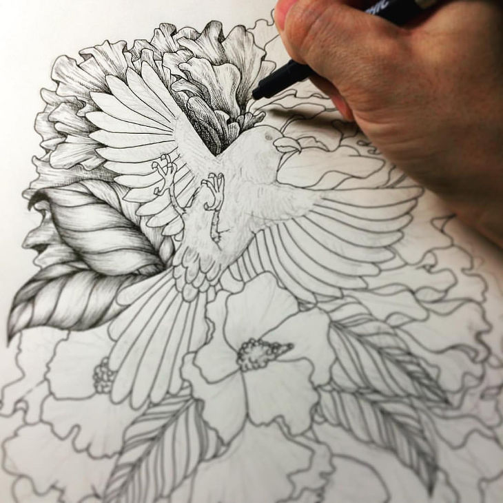 Bird with Flower Ballpoint Drawing