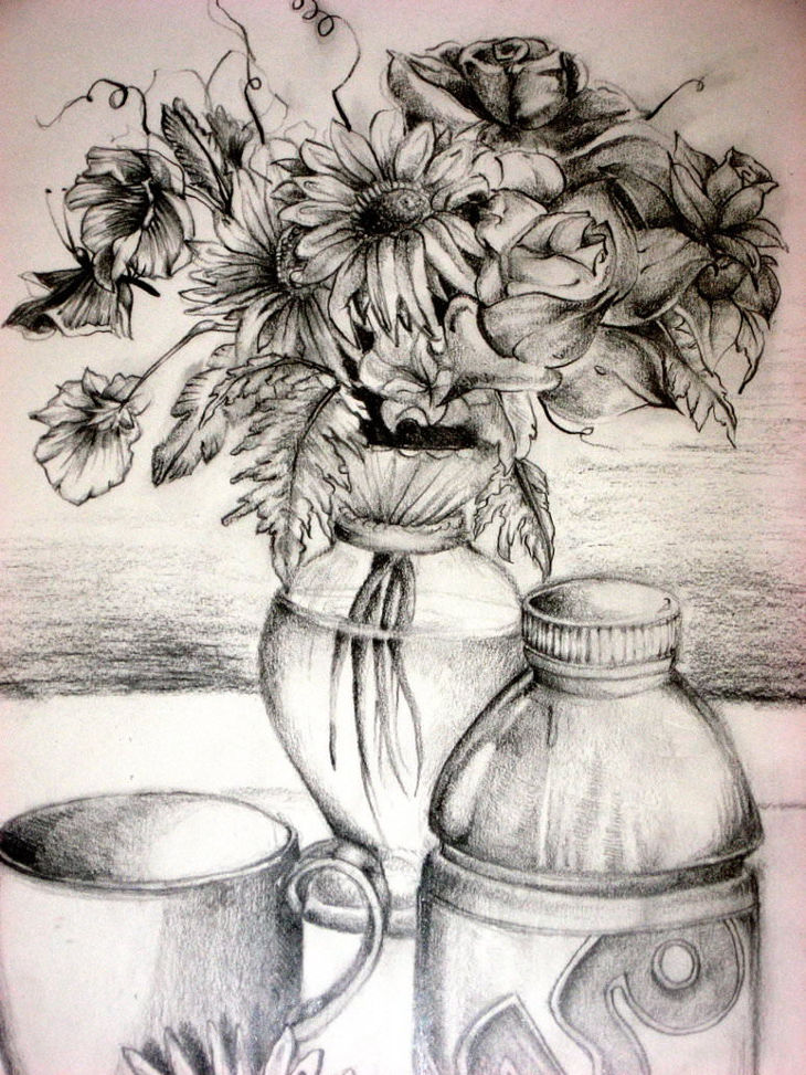 flower vase drawing
