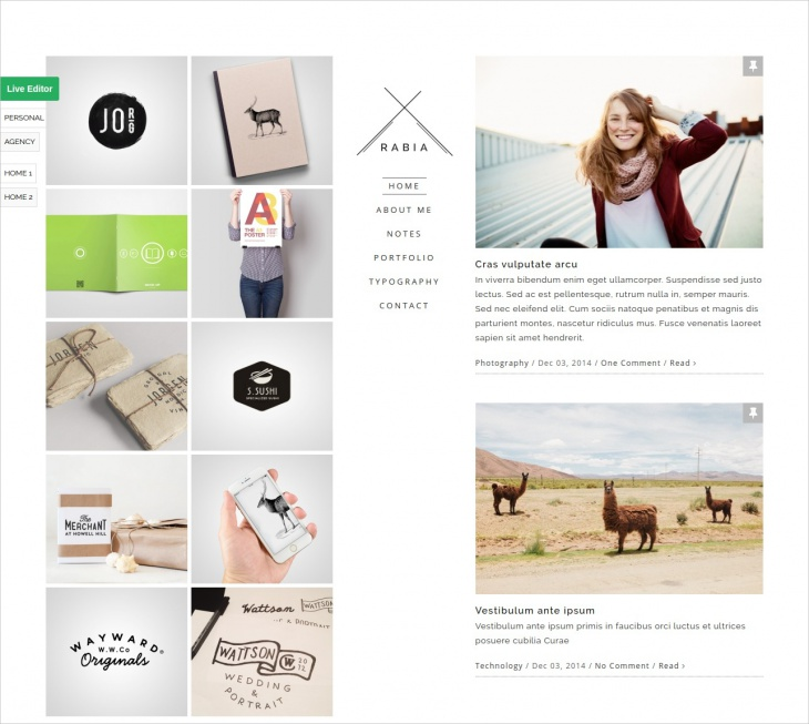 personal minimalist wordpress theme
