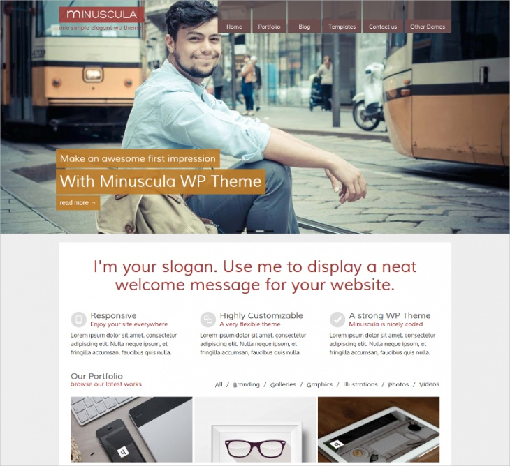 flexible minimalist wp theme