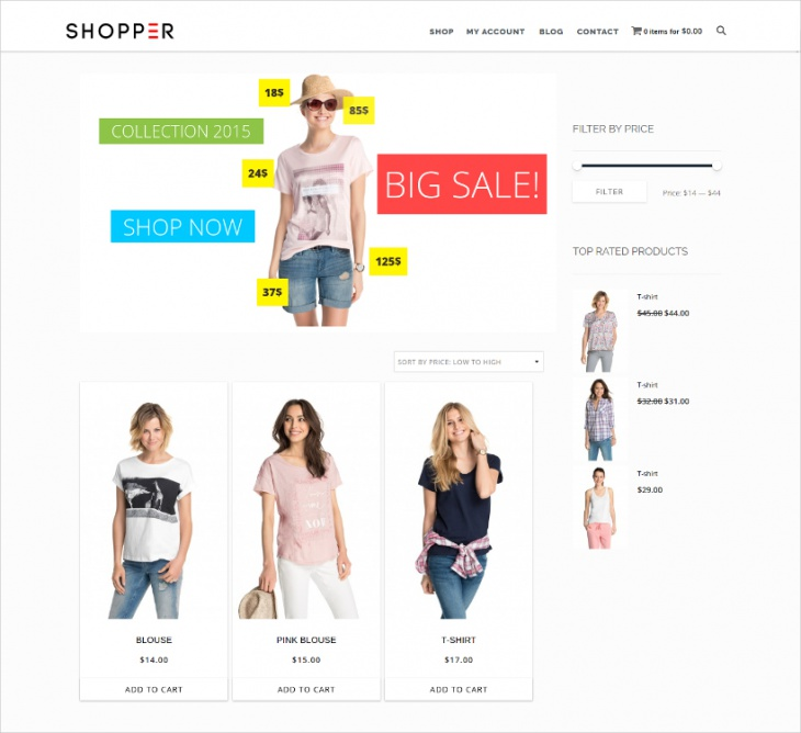 wp minimal shoping theme