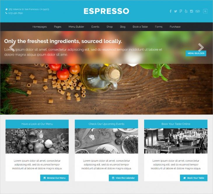 woocommerce restaurant wordpress theme