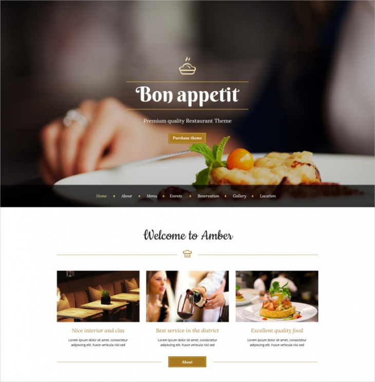 WordPress Parallax Restaurant Theme