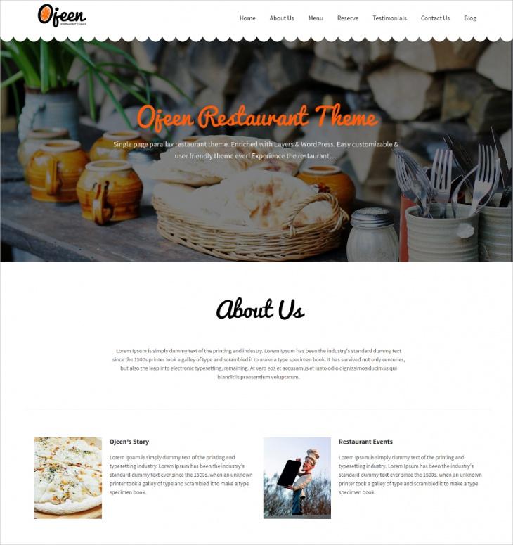 single page parallax restaurant theme