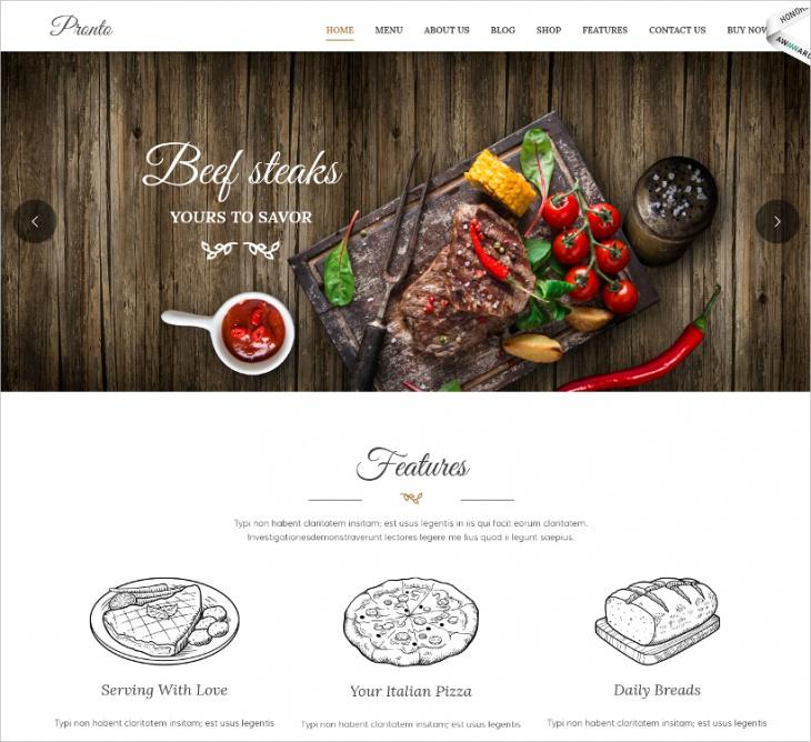 restaurant event wordpress theme
