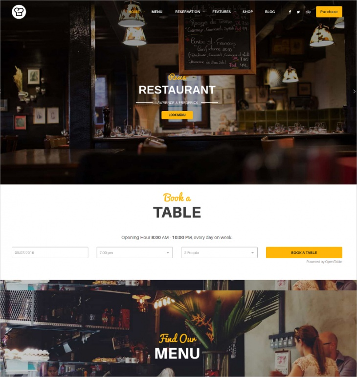 awesome wp restaurant cafe theme