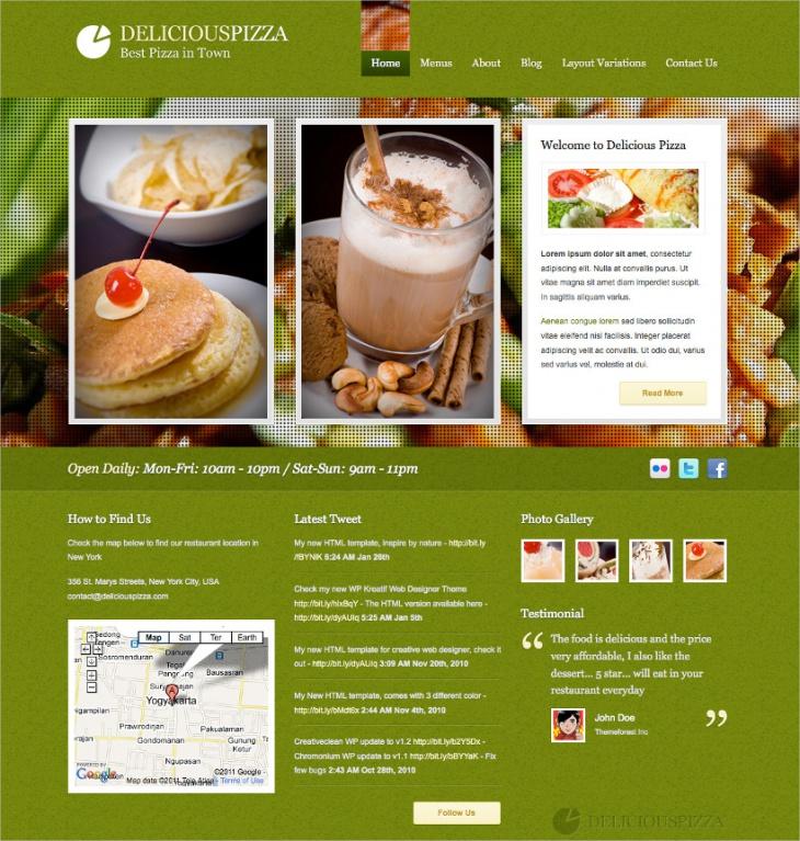delicious restaurant wordpress