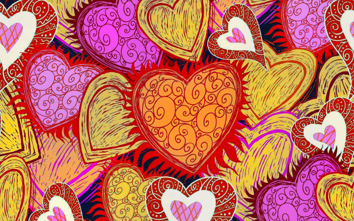 colorful pin love heart background