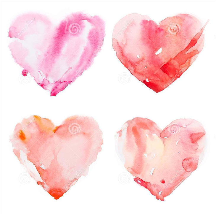 water colour heart with white background