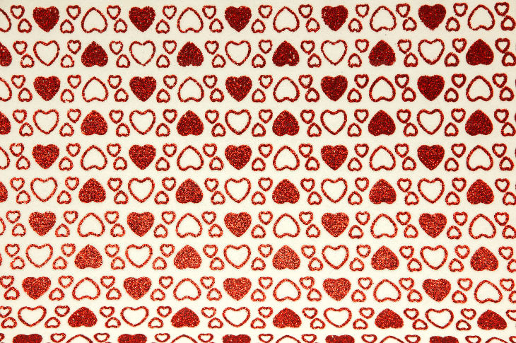 background of handmade hearts glitter chip