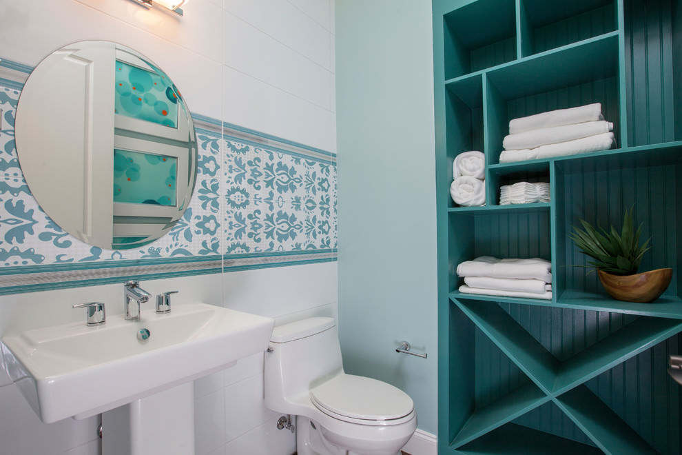 Bathroom with elegant blue shelves design