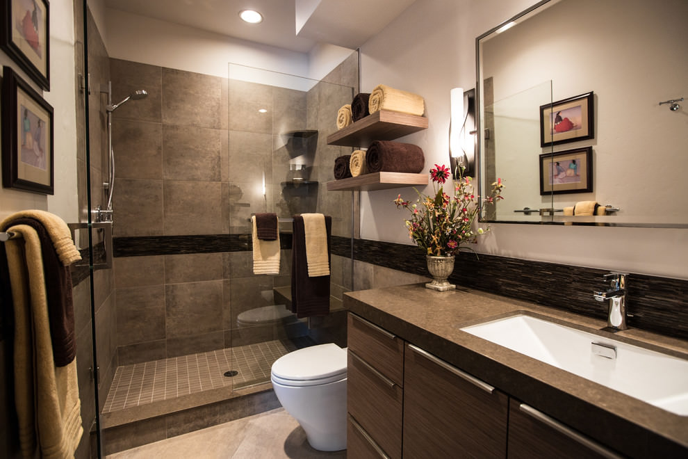 Bathroom with modern wooden shelves