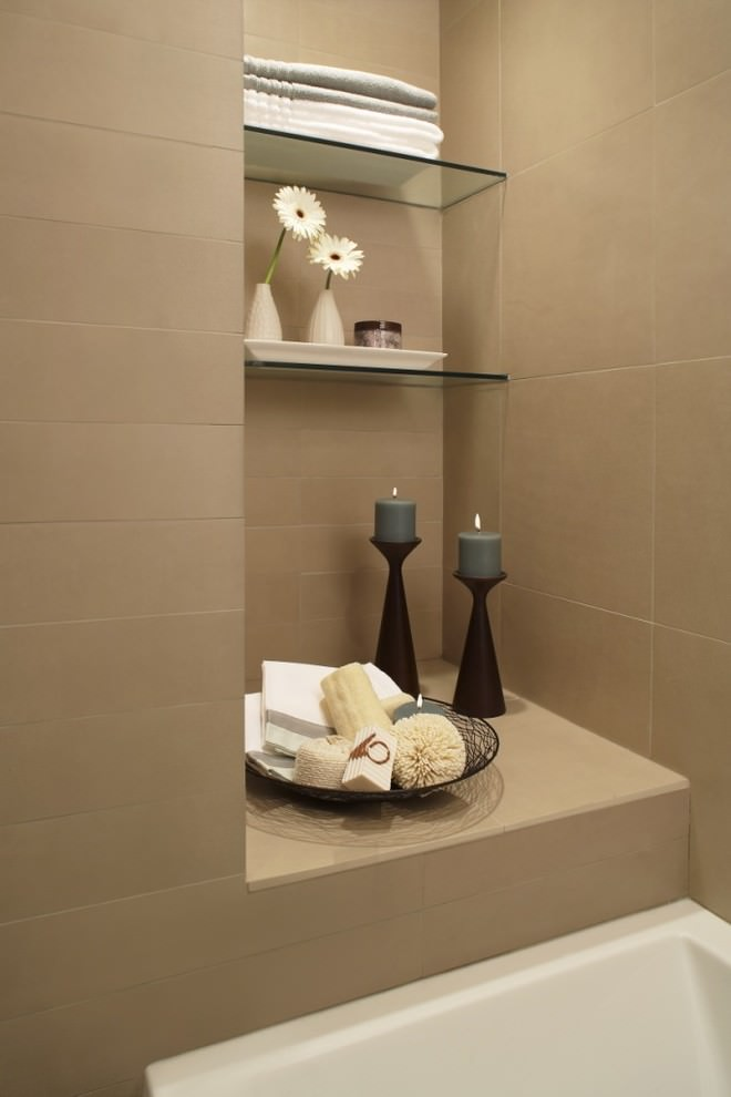 Contemporary bathroom with beautiful shelves