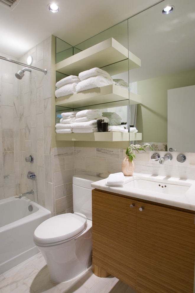 Contemporary bathroom with elegant shelves