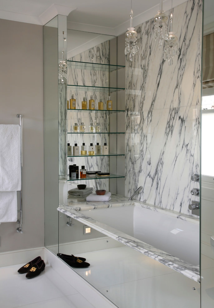 Contemporary bathroom with glassy shelves