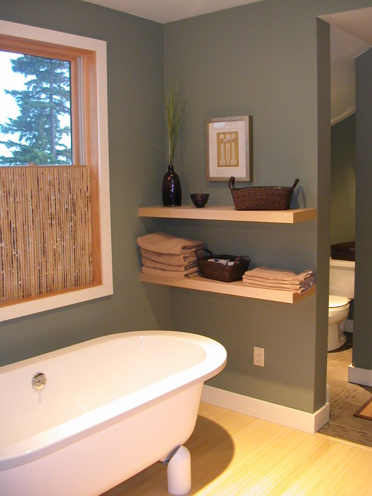 Gray bathroom with shelf design