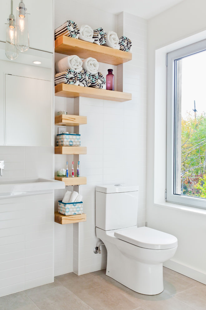 Modern shelf design in bathroom