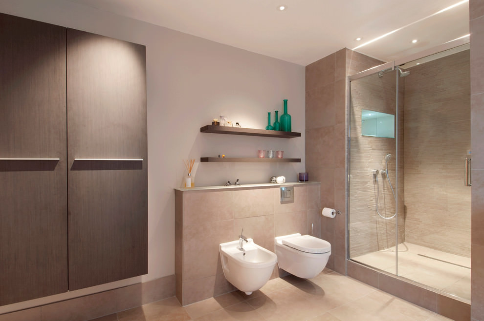 Simple contemporary bathroom with shelve design