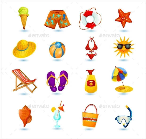 Decorative Set Of Summer Holidays Icon