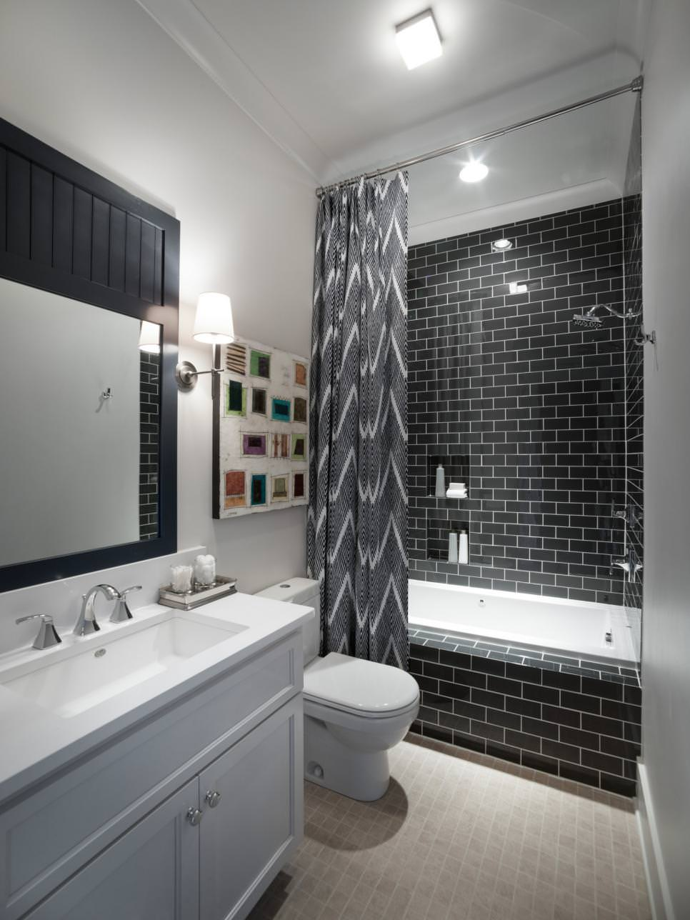 Black and White Modern narrow Bathroom design