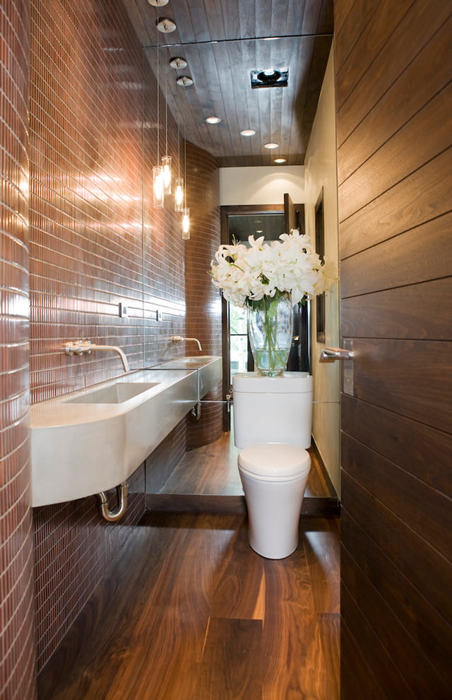 Brown color narrow bathroom design