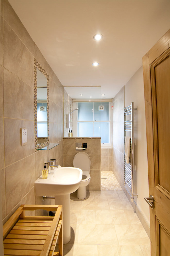Contemporary narrow bathroom design