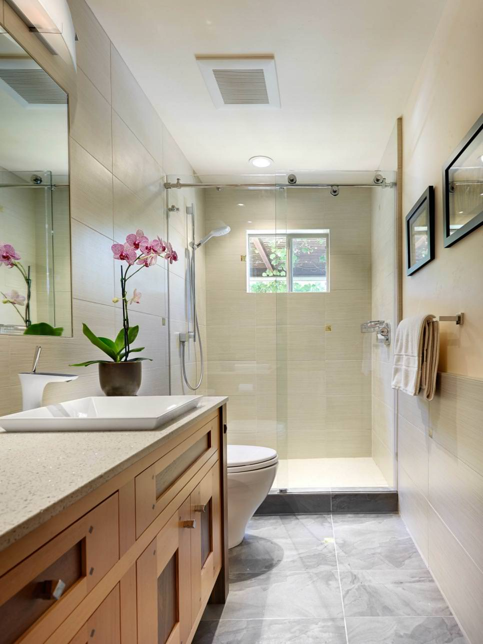 Narrow Bathroom design With Craftsman Style Vanity